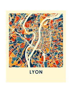 Lyon Map Print - Full Color Map Poster