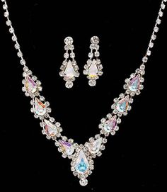 New aurora borealis rhinestone necklace pierced earring set prom formal AB jewelry