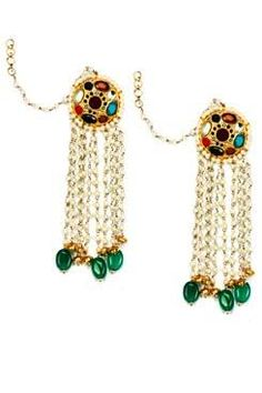 Shillpa Purii Designer Jewellery Gold Finish Pearl Tassels Navratna Head Earrings €83.63