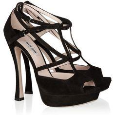 Miu Miu Suede platform sandals ($435) ❤ liked on Polyvore featuring shoes, sandals, heels, zapatos, miu miu, black, high heel shoes, ankle strap sandals, black heel sandals and platform sandals