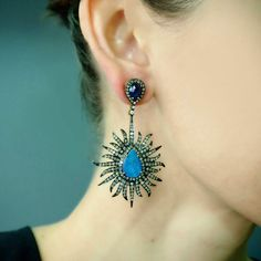 """""""Sunburst"""" Opal Diamond Earrings - Plukka - Shop Fine Jewelry Online"""