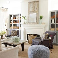 The different textures in this living room make for a rustic luxe feel. Pin now for more of our favorite color schemes: http://www.bhg.com/decorating/color/schemes/living-room-color-schemes/?socsrc=bhgpin02062014rusticluxe&page=4