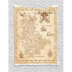 Ocean Island Decor Wall Hanging Tapestry, Old Ancient Antique Treasure Map With Details Retro Color Adventure Sailing Pirate Print, Bedroom Living Room Dorm Accessories, By Ambesonne