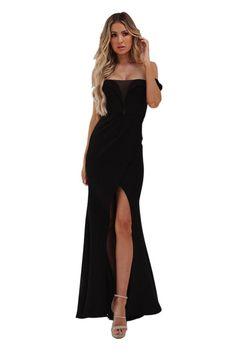 Black Off Shoulder Split Front Maxi Evening Party Dress
