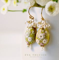 GENTLE SPRING beautiful hand made hand appliquéd polymer clay earrings. Made to order by Eva Thissen.
