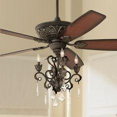 Casa Contessa Dark Bronze Chandelier Ceiling Fan Above Dining Room Table Or My Bedroom
