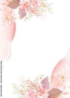 Free Birthday Invitation Templates, Birthday Card Template, Disney Invitations, Frame Floral, Flower Frame, Flower Background Wallpaper, Flower Backgrounds, Flower Graphic Design, Page Borders Design