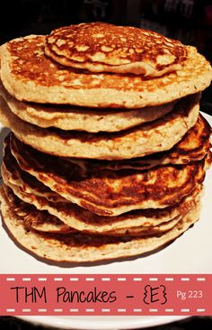 """€ THM Pancakes <3 these!!!  """"E""""   form peaks with egg whites to make pancakes fluffy ALSO let batter rest 5 min.  Uses oat flour, egg whites, ff cottage cheese"""