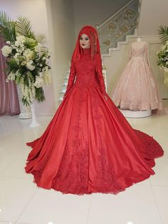 Bride Gowns, Bridal Dresses, Bridal Hijab Styles, Muslim Wedding Gown, Red Frock, Grey Prom Dress, Lovely Dresses, Dress Collection, Marie