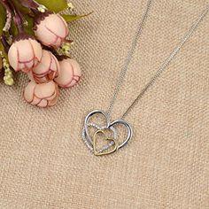 Amazon.com: Bicolors Pendant Necklace Love Heart Cross Angel Wings Rhinestone Necklace Gift: Jewelry
