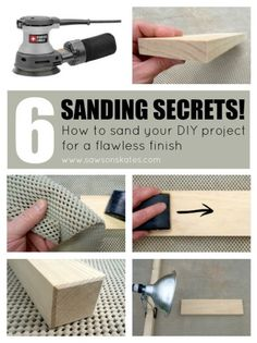 Woodworking Tips 6 Sanding Secrets! How to sand your DIY project for a flawless finish! - Six sanding secrets revealed! This tutorial shows you hints and tips for how to sand your DIY project for a flawless finish. Woodworking For Kids, Popular Woodworking, Woodworking Jigs, Woodworking Furniture, Woodworking Classes, Woodworking Articles, Unique Woodworking, Intarsia Woodworking, Woodworking Machinery
