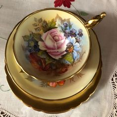 Aynsley tea trio signed Bailey. Athens shape with gold cup. Facebook.com/Inhercups
