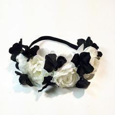 12074cbe9364b Black and white flowercrown   flower crown   black and white flowers   boho    baby