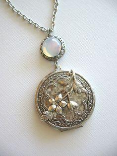SALE Night Blooming Jasmine LOCKET, Locket Necklace, Silver Locket, Antique Locket, Statement Necklace, Jasmine Bouquet, Moon Jewelry