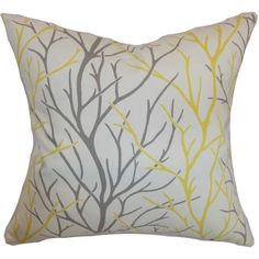 Fderik Trees Down Filled Throw Pillow Canary (12 KWD) ❤ liked on Polyvore featuring home, home decor, throw pillows, pillow, grey, gray home decor, tree throw pillow, grey accent pillows, patterned throw pillows and gray accent pillows