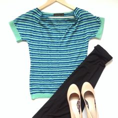 ✨ Striped scoop neck blouse So unique & fun fold scoop neck top from The Limited. Very lightweight, sweater style, but thin & somewhat sheer. 69% acrylic, 25% rayon 6% nylon. Perfect for a casual day or dress up for the office. Length from shoulder to hem is 22in. and bust is 15 & 1/2in. The Limited Tops