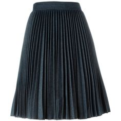MSGM High Waist Pleated Skirt ($386) ❤ liked on Polyvore featuring skirts, blue, msgm skirt, knee length pleated skirt, blue skirt, high-waisted skirts and blue high waisted skirt