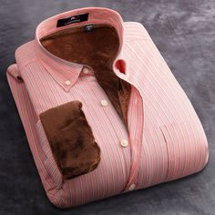 Langmeng Super Warm Casual Shirts brand quality male long sleeve men striped office dress shirts mens thermals for winter