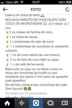 Receita - bolinho chocolate com côco