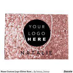 Name Custom Logo Glitter Rose Blush Powder Large Gift Bag Glitter Roses, Blush Roses, Custom Gift Bags, Customized Gifts, Glitter Home Decor, Large Gift Bags, Artwork Design, Custom Logos, Branding Design