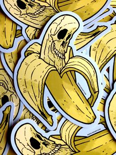 You know you need one of these Die Cut Vinyl Banana Skull Stickers. Get one today! Description: Size: 5 x inch Material: Vinyl Full Color Die Cut Shipping: Item will be shipped with USPS in an envelope. Arte Zombie, Drums Wallpaper, Banana Art, Sticker Bomb, Sticker Vinyl, Desenho Tattoo, Cool Stickers, Mellow Yellow, Skull Art