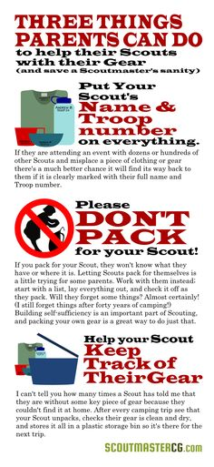 Three things Scout parents can do to help Scouts with their gear (and save a Scoutmaster's sanity).