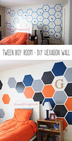 See how I created this bold hexagon wall for my son's bedroom. Statement wall. Hexagon wall. Tween room. Boys room. Hexagon