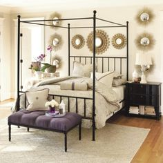 I'm thinking my ceilings are tall enough for a bed like this one...and love the mirrors!