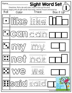 Roll a die and color, trace, or box up a word! FUN and super effective way to practice those tricky sight words! TONS of interactive printables!!: