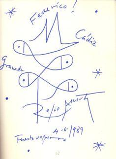 Dibujo del libro de visitas de la Casa Museo de Federico García Lorca en Fuentevaqueros