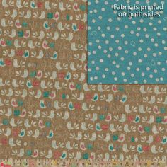 Japanese Import Junmai Birds & Eggs Blue Brown Reversible Oxford Cloth Cut Length
