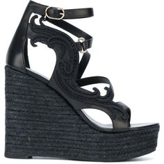 Versace strappy wedge sandals (£345) ❤ liked on Polyvore featuring shoes, sandals, black, black strappy sandals, wedge sandals, woven leather sandals, strappy leather sandals and black wedge sandals