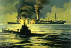 Night of the Hunter, USS Wahoo by Anthony Saunders. - Cranston Fine Arts Aviation, Military and Naval Art