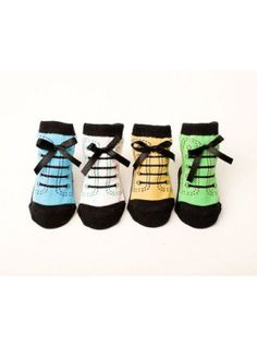 1adddeaf82d8 Gift box of 4 pairs of baby socks styled as tiny hiking boots. They  incorporate