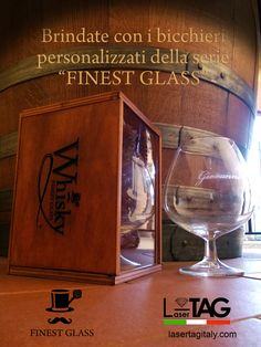 """Confezione in legno, incisa, realizzata a mano, contenente bicchiere da whisky/cognac con personalizzzione. Serie """"finest glass""""  Shop on line http://lasertagitaly.com/index.php? --- Wooden box, engraved, hand-made, containing glass whiskey / cognac with personalizzzione. Series """"finest glass"""" Shop on line http://lasertagitaly.com/index.php?"""