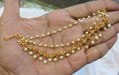 Antique Jewellery, Ethnic Jewelry, Pearl Jewelry, Gold Jewellery, Indian Jewelry, Jewelry Necklaces, Ear Chain, Gold Earrings Designs, Bindi