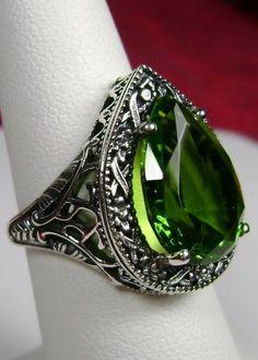925 Art Deco Victorian Peridot ring size 7 by UniqueSilverBox