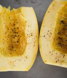 An easy tutorial on how to cut, de-seed, and roast spaghetti squash. Spaghetti squash makes for a delicious and healthy gluten-free meal! Healthy Recepies, Healthy Gluten Free Recipes, Veggie Recipes, Low Carb Recipes, Healthy Snacks, Cooking Recipes, Ketogenic Recipes, Healthy Options, Paleo