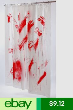 Bloody shower curtain halloween blood stained handprints psycho dead fun world shower curtains home garden ebay gumiabroncs Image collections