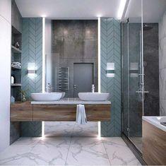Bathroom in a gentle gray-blue color Bathroom Layout, Modern Bathroom Design, Bathroom Colors, Bathroom Interior Design, Interior Design Living Room, Bathroom Ideas, Grey Bathrooms, Small Bathroom, Bathroom Gray