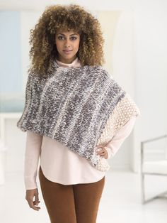 Make a trendy poncho with new Color Clouds yarn! Free knit pattern calls for 7 balls of yarn (pictured in travelers tan and thunder) and size 19 (15mm) 29-inch circular knitting needles.