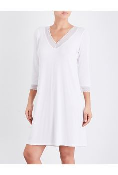 THE WHITE COMPANY - V-neck lace-trim nightie | Selfridges.com