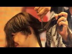haircut on long hair to a pixie - YouTube