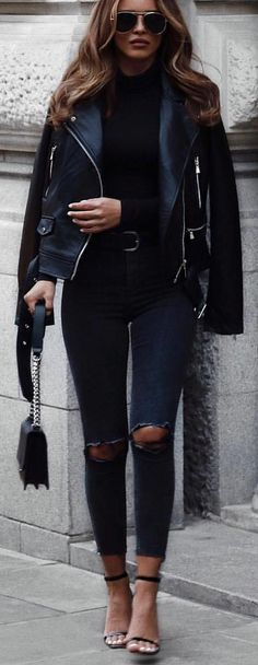 #winter #outfits black leather zip-up jacket. Pic by @rome_fashion_style.