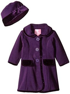 Goodlad Baby Girls Faux Pockets Velour Trimmed Fleece Coat Faux Pockets Velour Trimmed Fleece Coat 12 Months