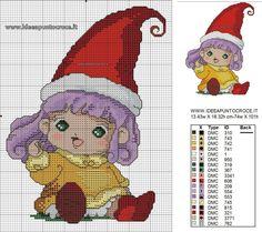 SCHEMA PUNTO CROCE MEMOLE Cross Stitching, Cross Stitch Embroidery, Cross Stitch Patterns, Cross Stitch Fairy, Cute Cross Stitch, Hama Beads, Stitch Cartoon, Elves And Fairies, Betty Boop