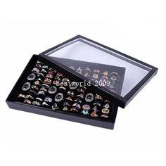 Jewelry Ring Rings Display Tray Black Velvet Pad 100 Slot Holder Cube Case Box AU $5.50