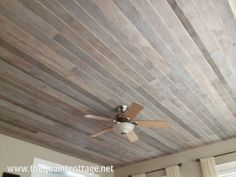 DIY Faux Rustic Plank Ceiling - via The Quaint Cottage by diane.smith