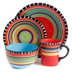 Gibson Home Pueblo Springs Handpainted 16-Piece Dinnerware Set - 599B4A93B8A2443BA039977DC2C72EC1  sc 1 st  Pinterest & GIBSON FIESTA SPRING PUEBLO 16 PIECE DINNERWARE SET PLATES SERVICE ...