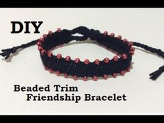 A quick DIY tutorial showing how to add beads to a friendship bracelet. I worked on a chevron style bracelet, but you could add beads using the same method t. Friendship Bracelet Patterns, Friendship Bracelets, Beaded Jewelry, Beaded Bracelets, Knit Bracelet, Beaded Trim, Micro Macrame, Fashion Bracelets, Jewels